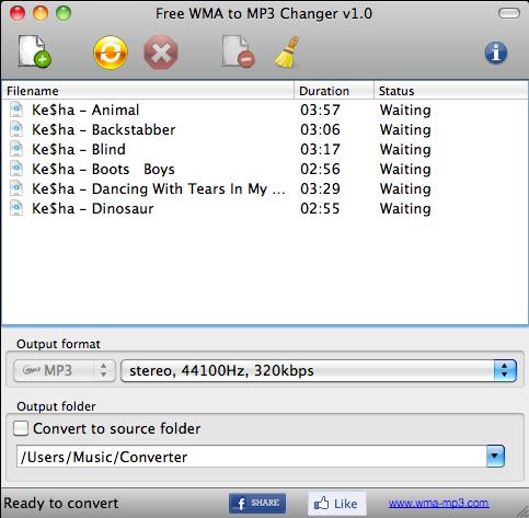 Free WMA to MP3 Changer MAC